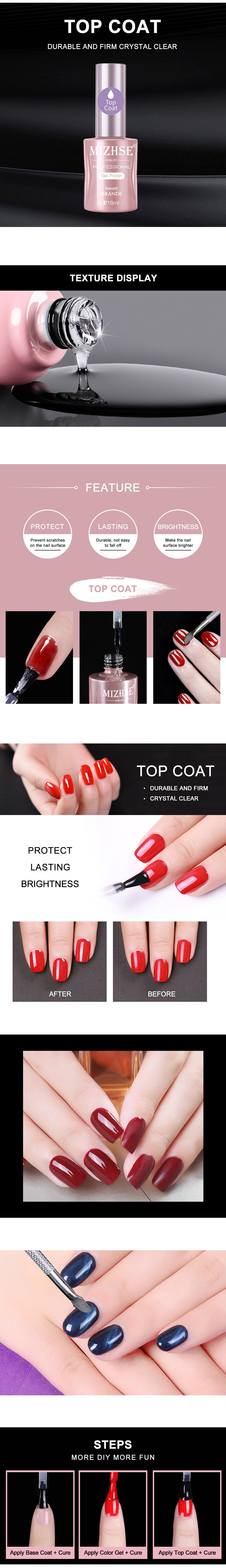 Base coat and top coat for nails