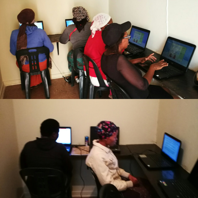 unemployed women and youth receiving training in IT skills so that they can be able to type cv's and apply for jobs online