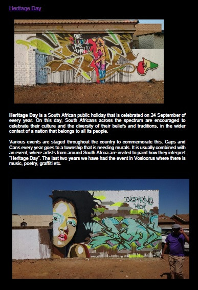 Every year Heritage Day we bring more and more art to the Vosloorus community.
