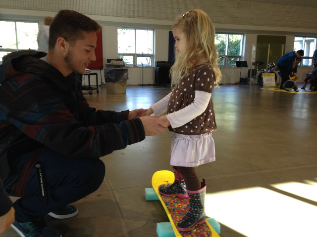 Student Brayden Texer helping out with our snowboard mentoring program.
