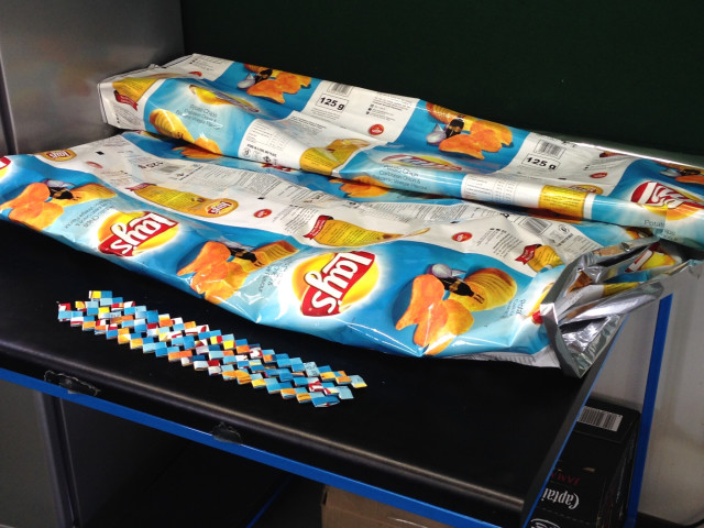 Lays Chip Wrapper banners no longer go to the landfills, they become trendy fashion accessories