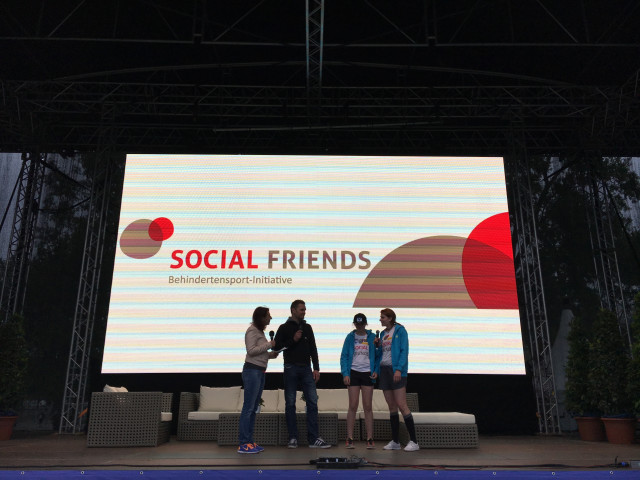 2017: Presenting SOCIAL FRIENDS initiative and supported visual impaired skier Veronika Aigner and her sister Elisabeth (guide) at the Austrian Women's Run 2017 Infotalk. The womens's run is one of the biggest run's in Austria with about 30.000 starters.
