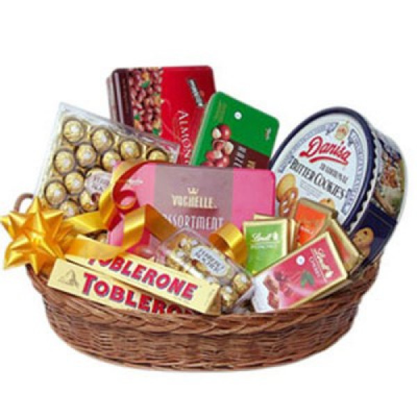 Basket of mixed chocolates with a ribbon bow