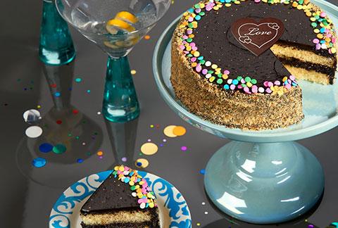 Golden Fudge Celebration Cake