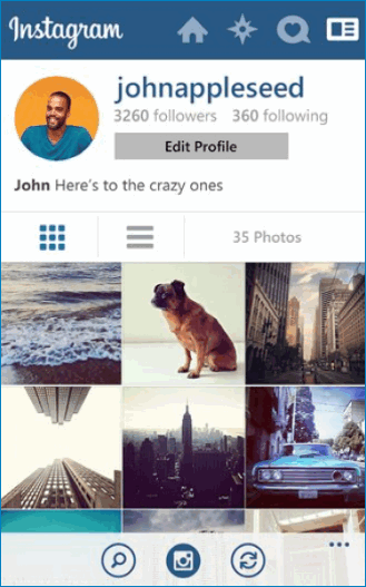 Интерфейс на Windows Phone Instagram