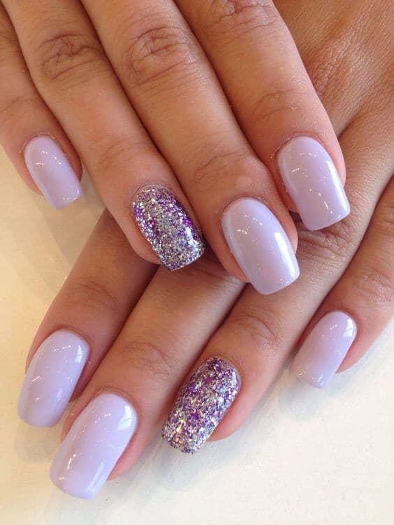 Precious Periwinkle Glitter and Creme Manicure
