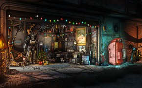 Обои Игра, Рождество, Новый год, Оружие, Украшения, Гараж, Праздник, Fallout, Christmas, Art, Ёлка, Игрушки, Bethesda, Bethesda ...