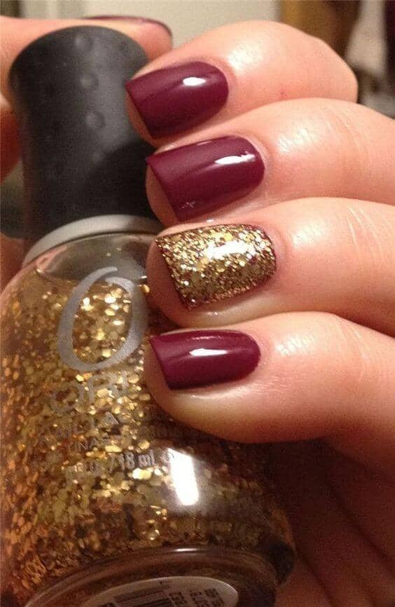 Cranberry and Gold Holiday Manicure
