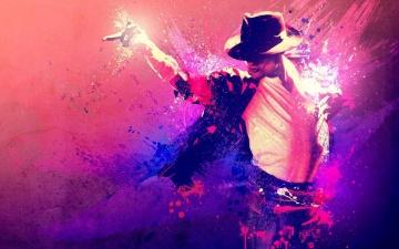 обоя музыка, michael jackson, танец, певец, майкл, джексон, палец, футболка, пятна, краска, мазки, пиджак, рисунок, шляпа