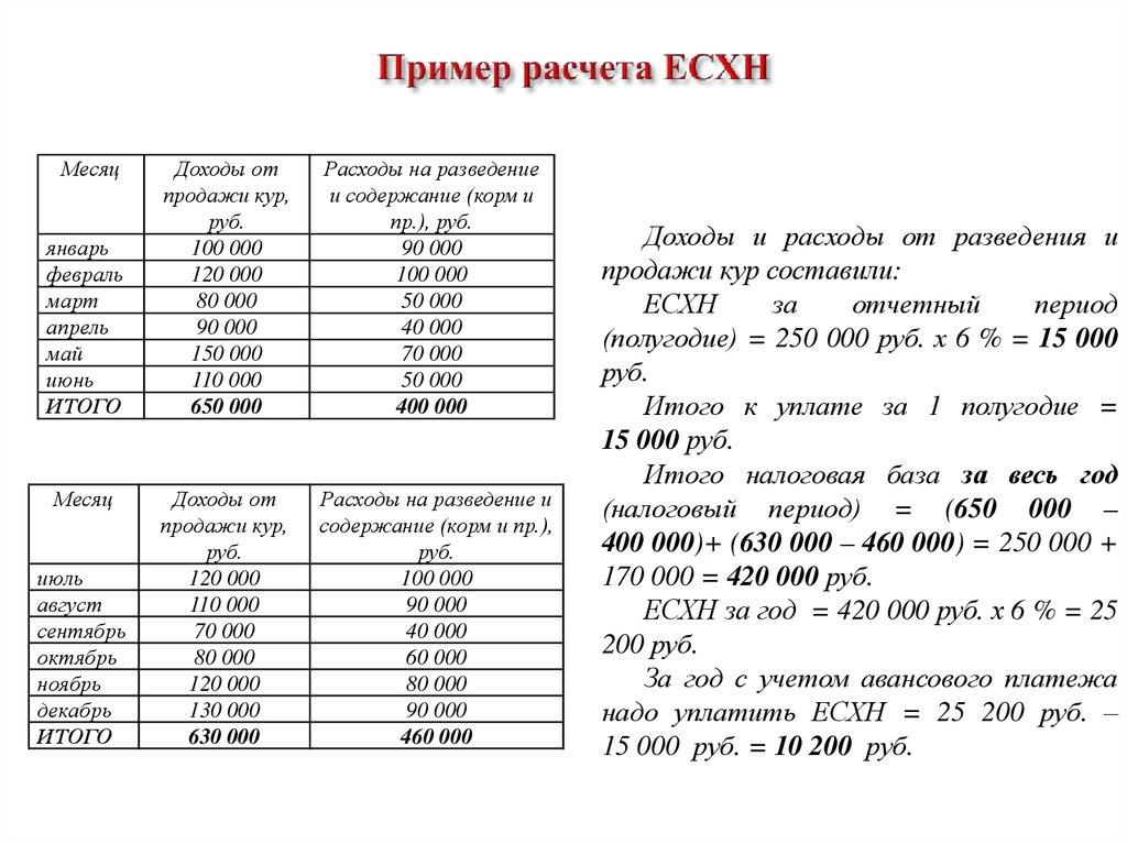 Расчет единого сельскохозяйственного налога пример