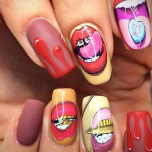 Ногти с губами фото