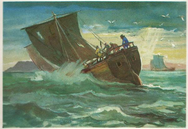 Открытка из комплекта «Русские путешественники и мореплаватели». Семен Дежнев
