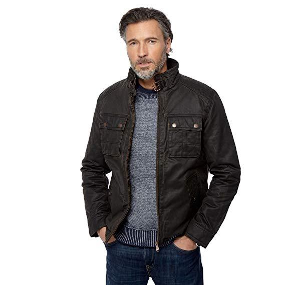 Mantaray brown waxed biker jacket
