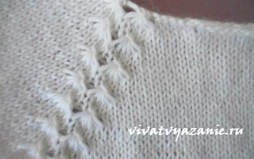 Детский пуловер спицами реглан сверху