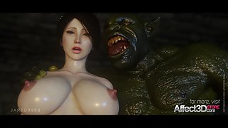 Two orcs savage a 3D girls pussy and anus hole