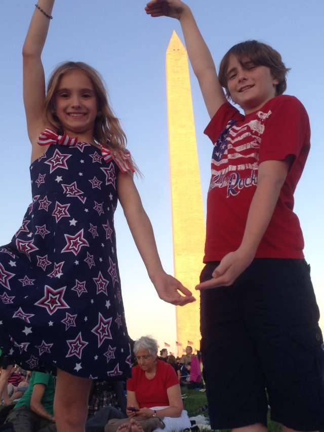 Washington Monument on July 4th -- waiting for fireworks