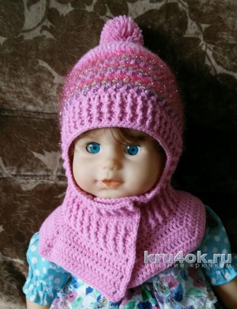Зимняя шапка - шлем крючком. Работа Александры Карвелис