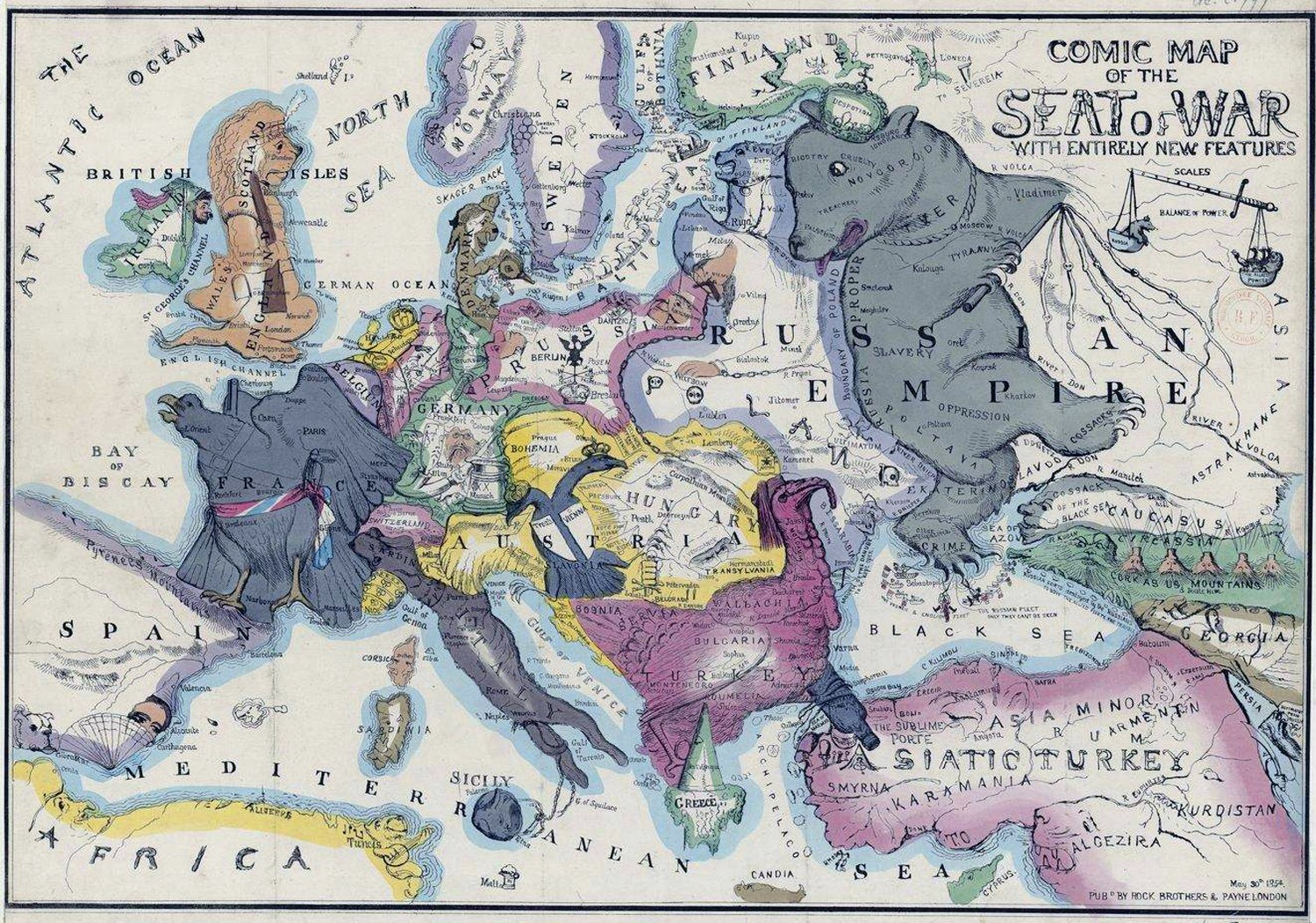 Europe satirical maps zoom maps europe comic map 1854 gumiabroncs Image collections