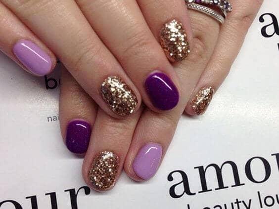 Purple and Gold Glitter shellac nail polish