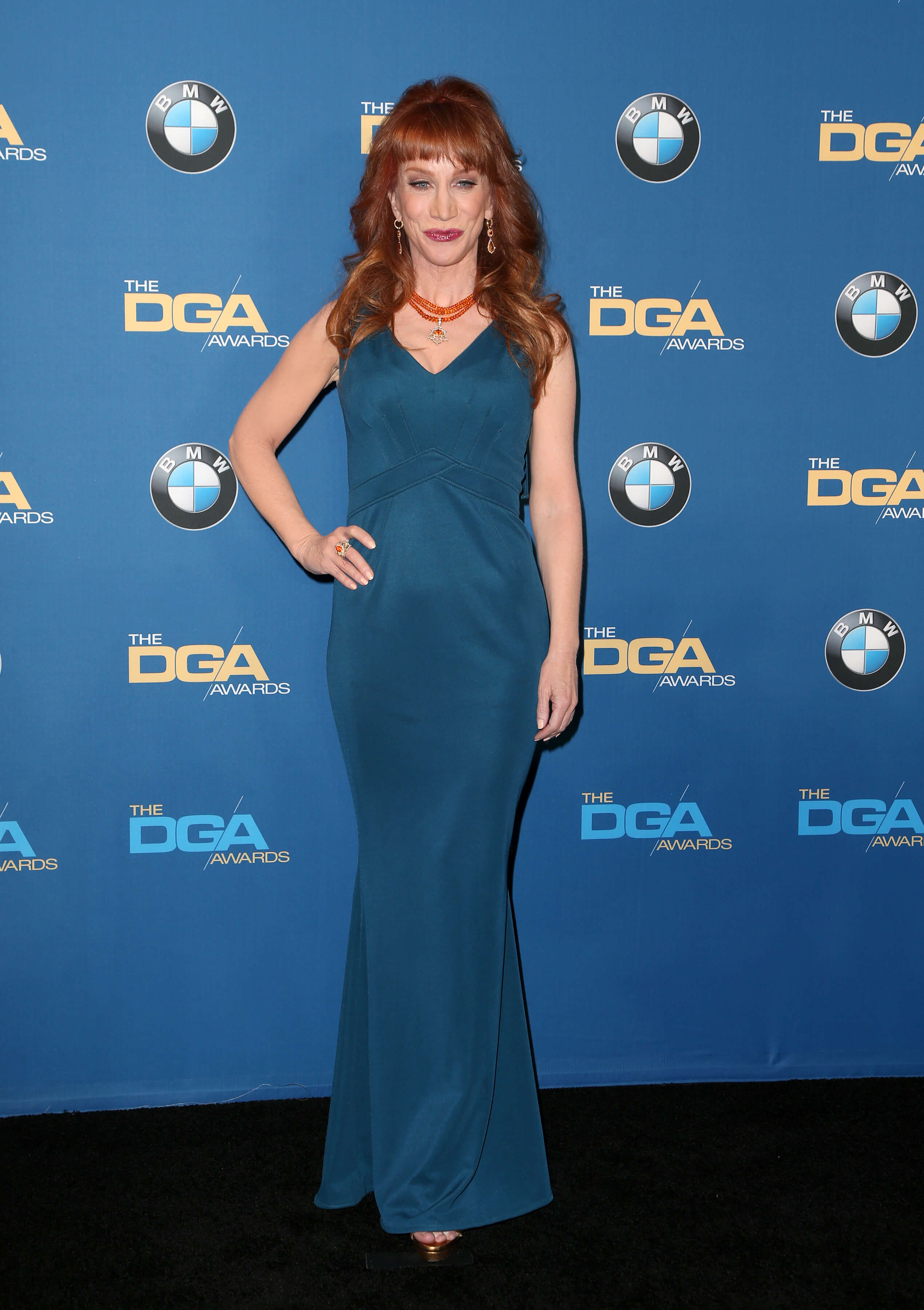 Kathy Griffin sexy long blue dress