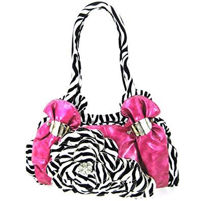 Hot pink purse with zebra flower