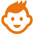 Game Truck Birthday Party Icon of Orange Smiling Kid