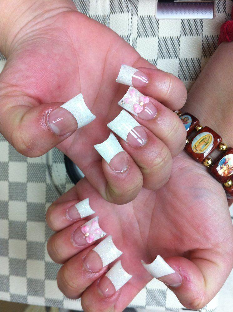 Moon shaped acrylic nails