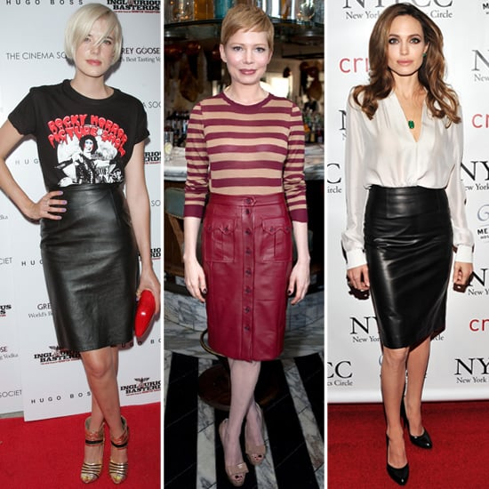 Celebrities in leather pencil skirt