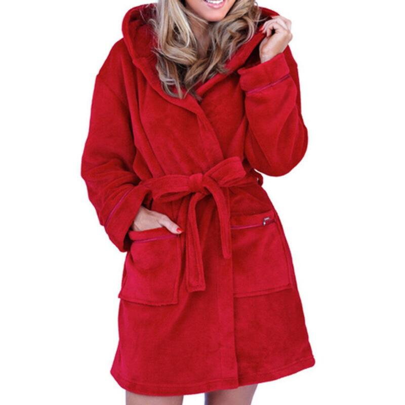 Pink dressing gown with hood
