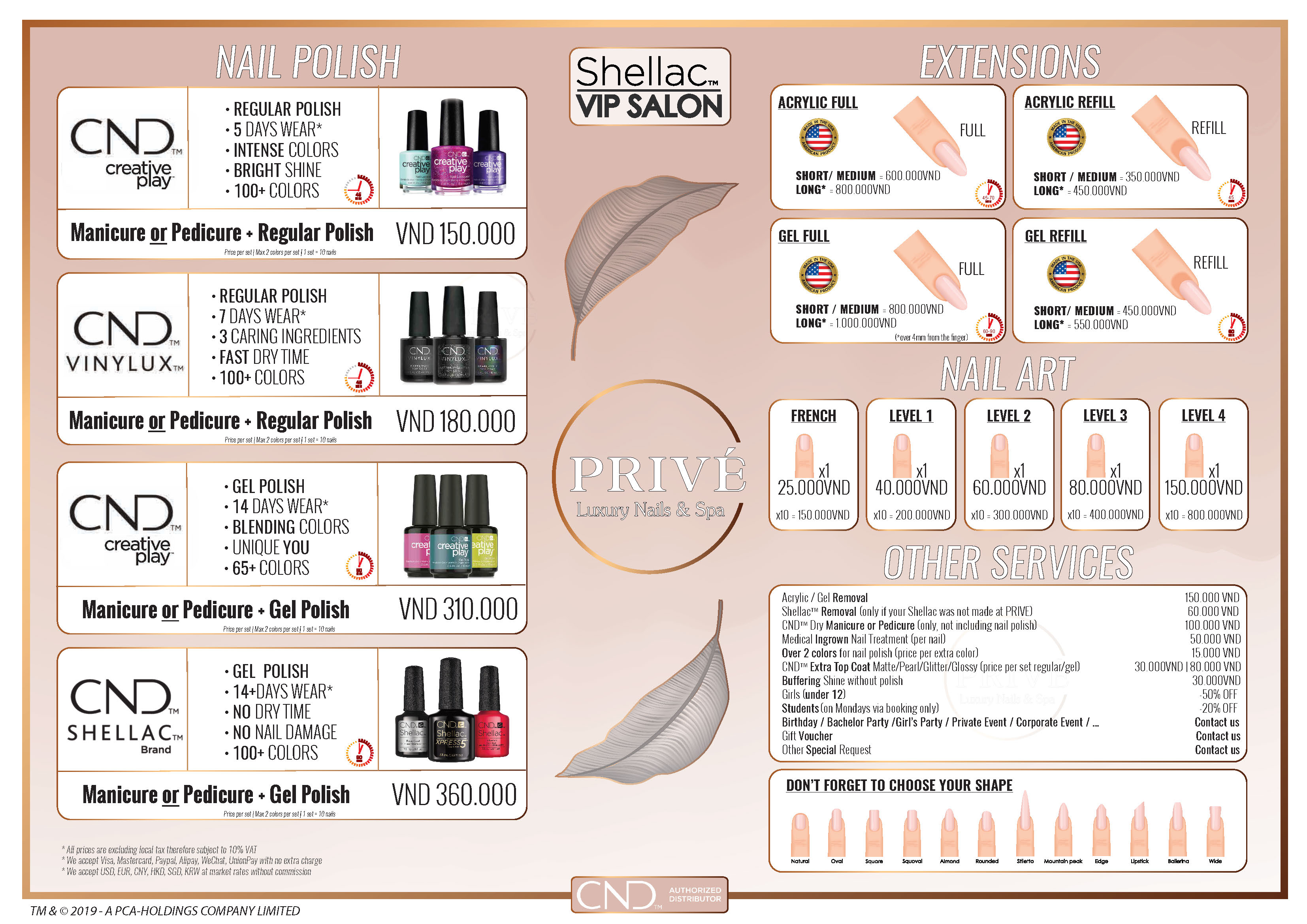 PRIVE NAILS SERVICE MENU - LUXURY NAIL AND SPA BOUTIQUE