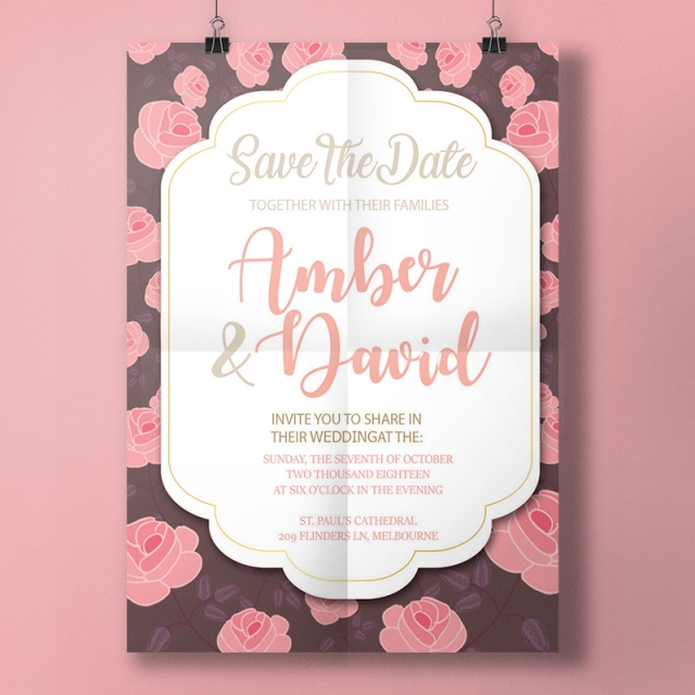Pink and brown invitation templates