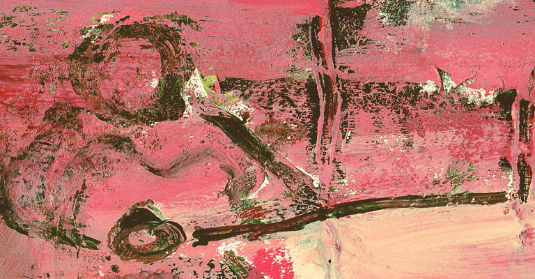 An abstract painting of a man playing guitar