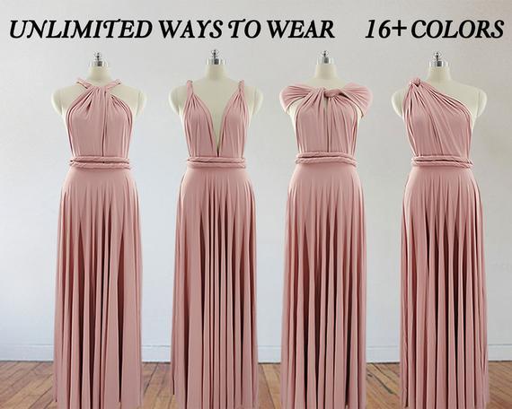 Pink bridesmaid dress long