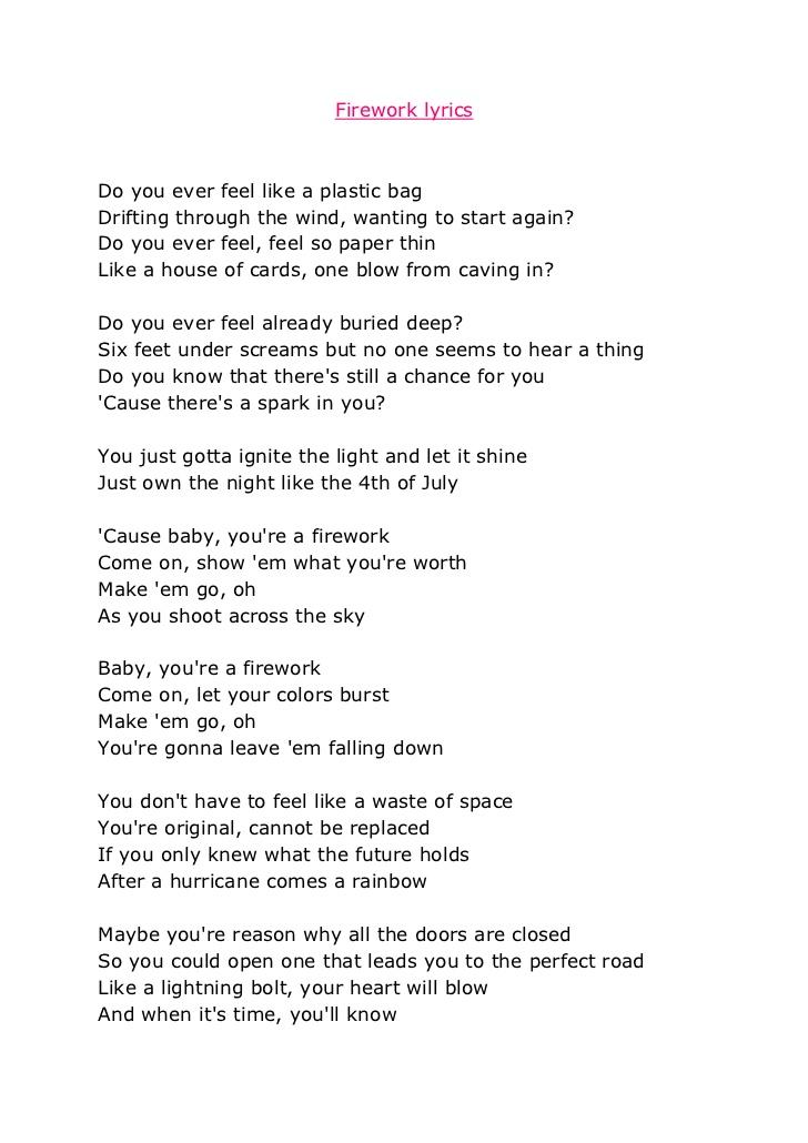 Katy perry firework lyrics that you can print