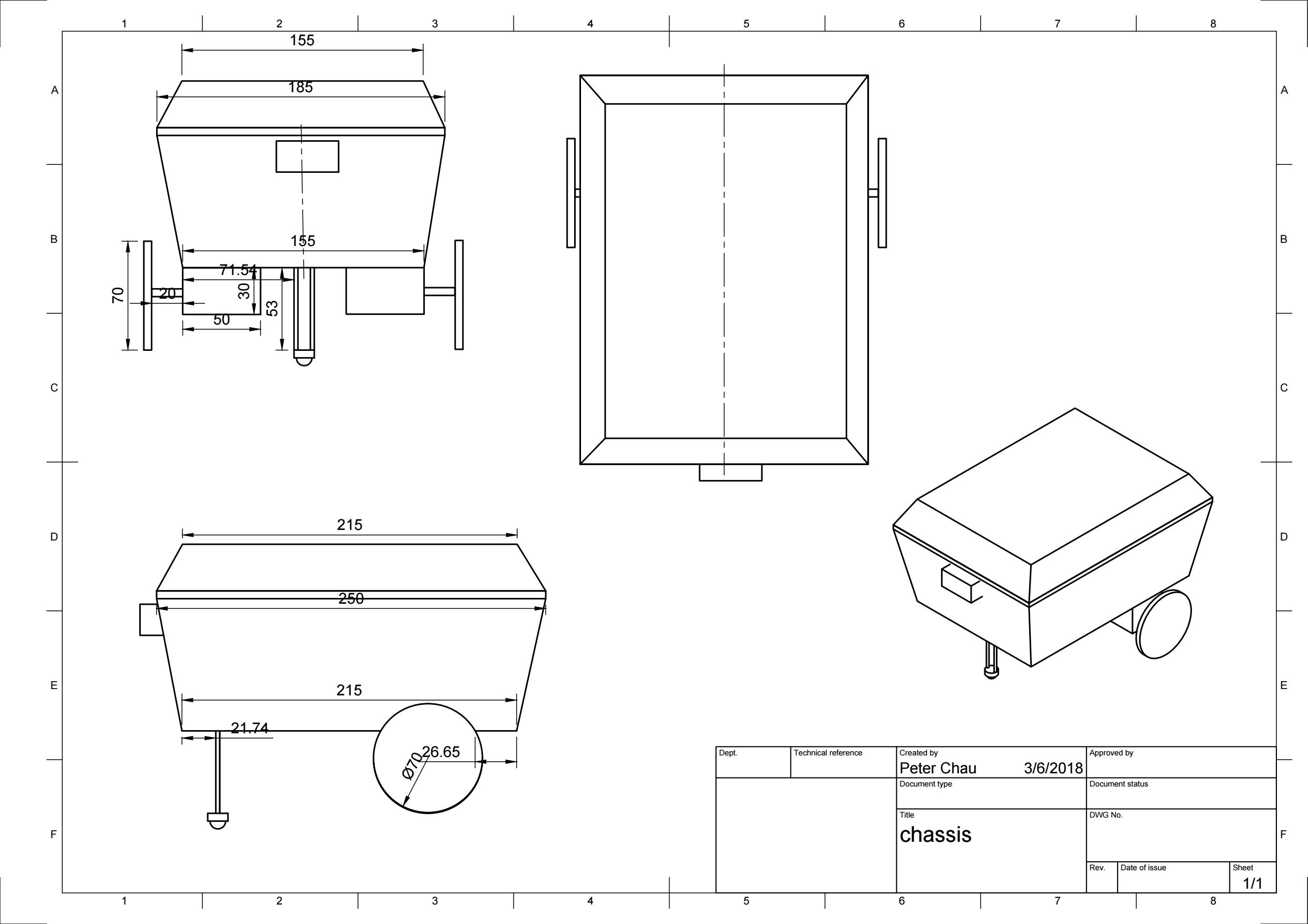Fusion 360 Drawing of Chefbot