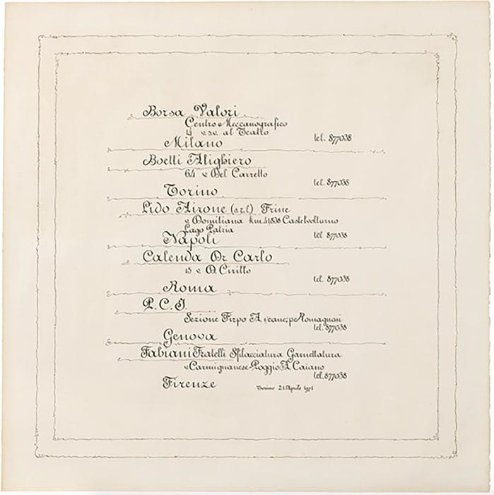 Calligrafia by Alighiero Boetti