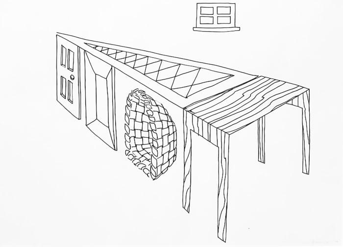 Door, Window, Table, Basket, Mirror, Rug by Richard Artschwager