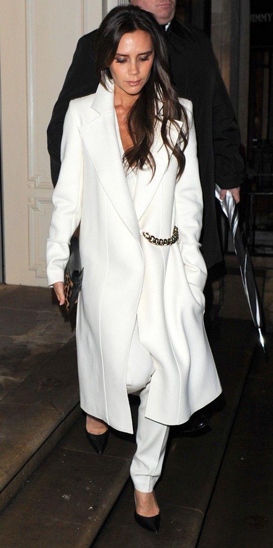 Victoria beckham white coat