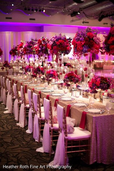 Purple and pink wedding decorations