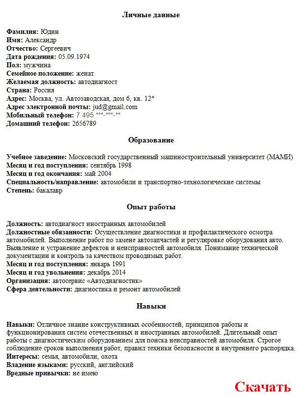 Зразок резюме бухгалтера українською мовою