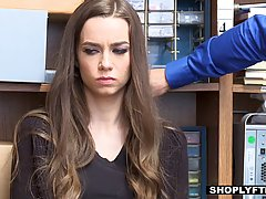 Brunette teen babe got her mouth stuffed forcefully by her warehouse supervisor in a back room