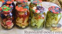 Фото к рецепту: Кабачки, маринованные с ягодами и горошком, на зиму