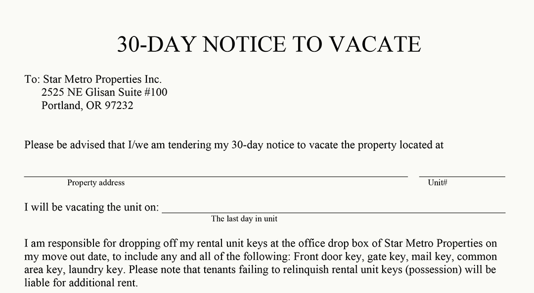 free 30 day notice to vacate template - 30 day notice to vacate california 30 day notice to vacate