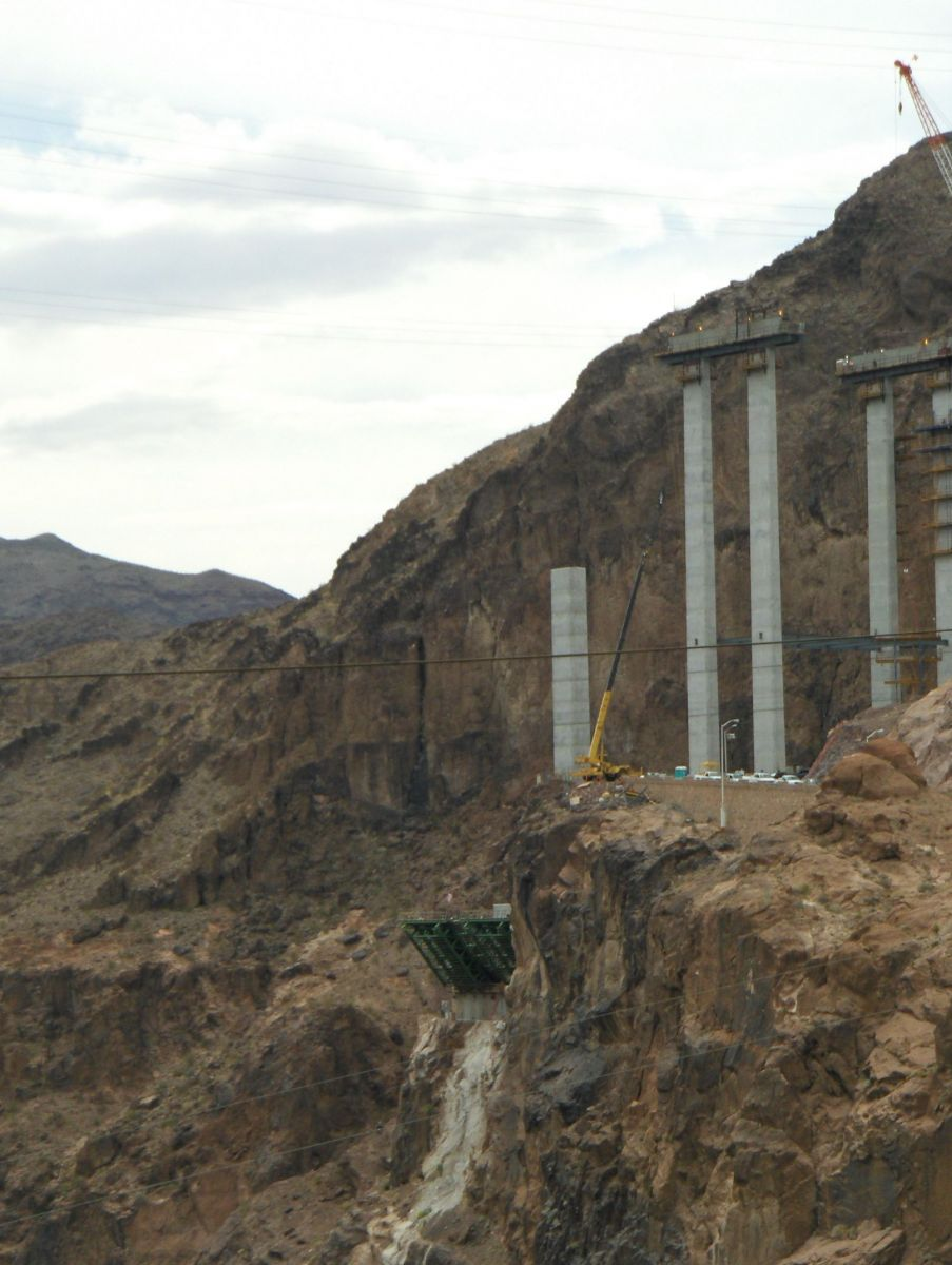 Hoover Dam Overpass Construction Pylons