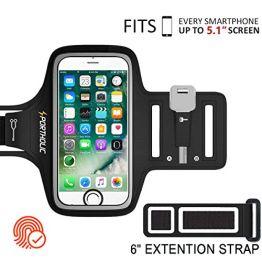 PORTHOLIC Schweißfest Sport Armband Fitness iPhone,Android–LEBENSLANGE GEWÄHRLEISTUNG – Mit Schlüsselhalter, Kabelfach, Kartenhalter für iPhone 8/7/6/6S/5/5S/SE,Galaxy S7/S6/S5 bis 5.1 Zoll (Schwarz+) - 1