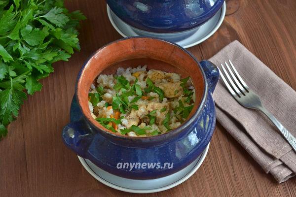 Рис в горшочке с курицей в духовке рецепт с фото