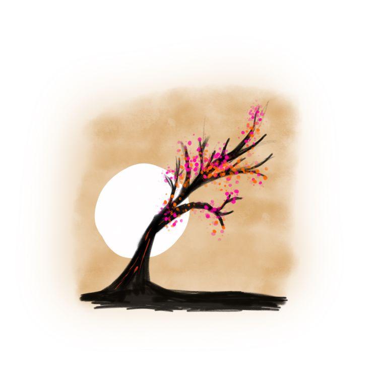 Artwork - Japanese inspired tree drawing in digital paint. Autodesk SketchBook on iPad Pro.
