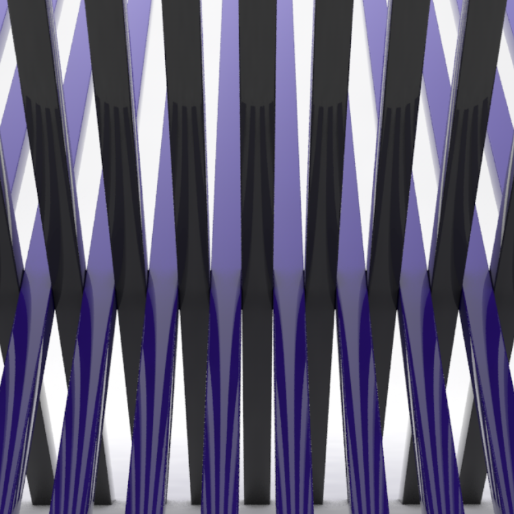 Artwork - Overlapping plastic bars, created and rendered in Cinema 4D