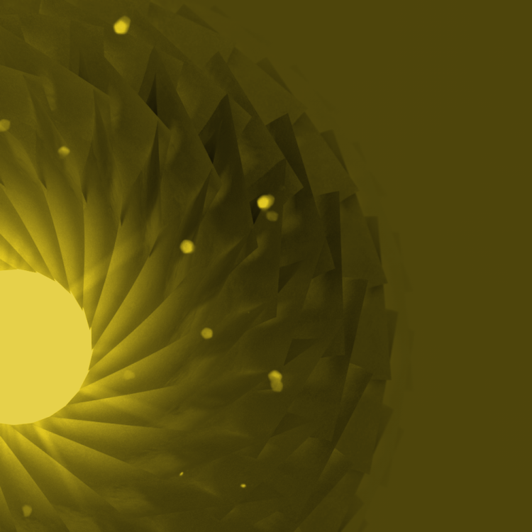 Artwork - Radial surfaces surrounding a volumetric light, created in Cinema 4D