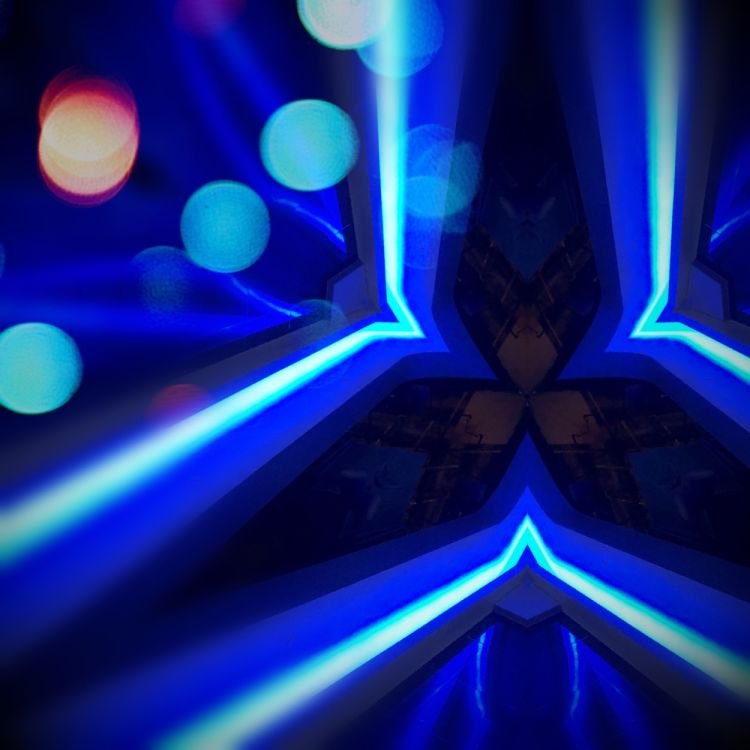 Artwork - Photograph of blue light fixture with post effects in Pixelmator for iPhone